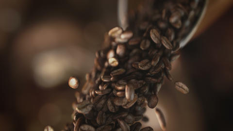Falling coffee beans in super slow motion in 4K Acción en vivo