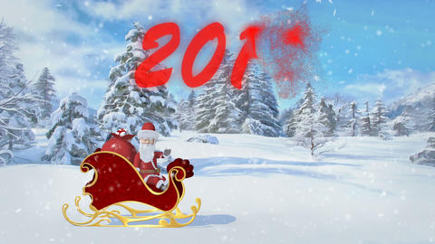 Santa Claus is riding over the forest in a sleigh with gifts. Merry Christmas GIF