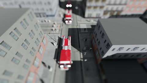 A convoy of fire trucks and policemen in the city rush to the challenge Footage