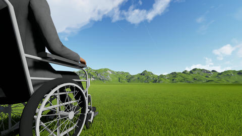 Disabled person in a chair against the backdrop of beautiful mountains Live Action