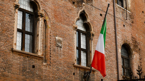 walls of medieval buildings in the city of Verona, a city of love and romance Footage