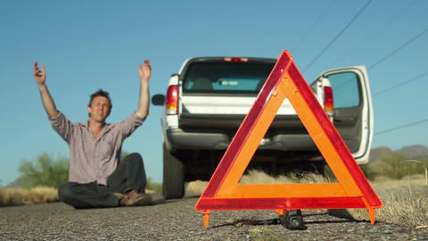 Truck Broken Down Emergency Triangle Male Laying Live Action