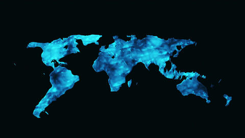 World Map Made Out Of Water stock footage