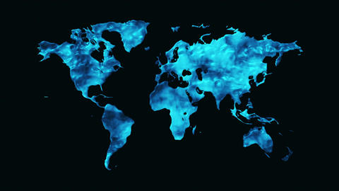 World Map Made Out Of Water Animation