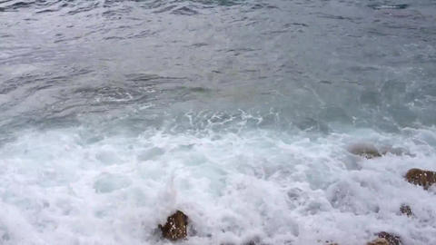 sea waves lapping on shore Footage