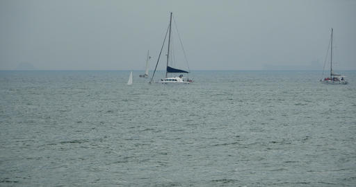 4k video,sailboat sailing in the sea,wide ocean waves surface Live Action
