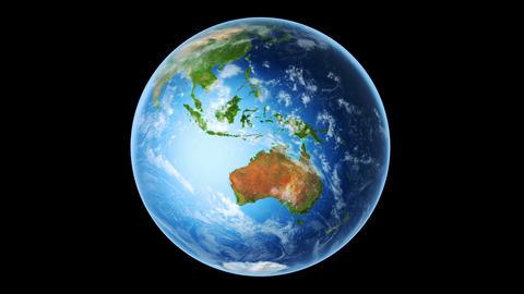 Earth Southern Hemisphere Rotating on Black (Loop) Animation