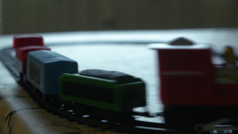 toy train moving on its track on a table 4k Footage