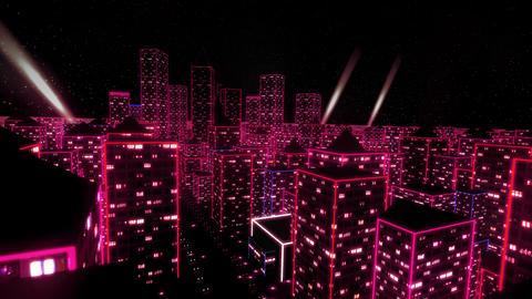 Neon city fly over urban skyscraper glow computer tron matrix 4k Footage