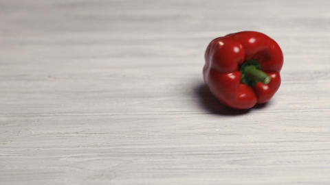 Bell Pepper on white table Footage