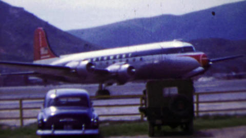 1951: US military passenger plane Korean War era airstrip takeoff Live Action