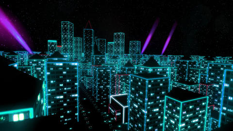Neon city fly over urban skyscraper glow computer tron matrix 4k Live Action