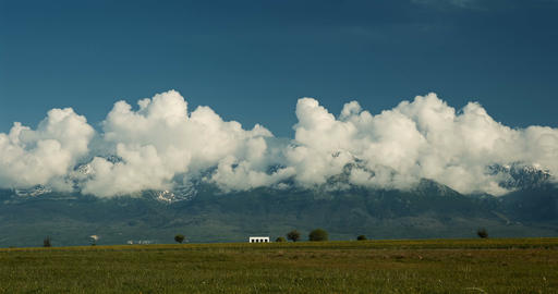 4K, Time Lapse, Fast Moving Clouds Above High Tatra Mountains, Slovakia Footage