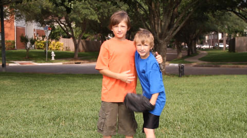 Boys Giving High Five stock footage