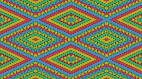 Kaleidoscopic Shapes Stripes and Rhombus Colorful Seamless Looping Background Animation