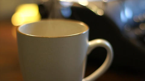 extreme shallow DOF hot coffee Footage