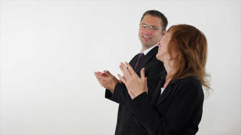 Business people clapping woman in front Footage