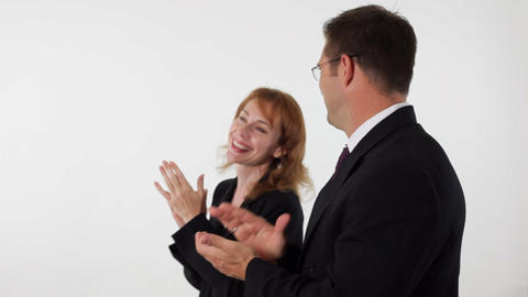 business people clapping man in front Footage