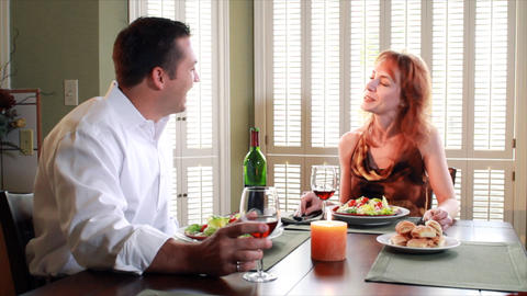 couple having dinner converstion Footage