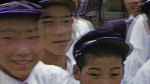 1951: Japanese schoolboys dressed in formal white uniform Footage