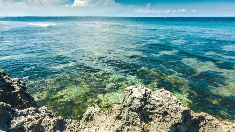 Ocean waves with rocks shore Footage
