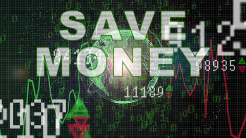 Save money text on Stock market graph with bar chart price display, trading Animation