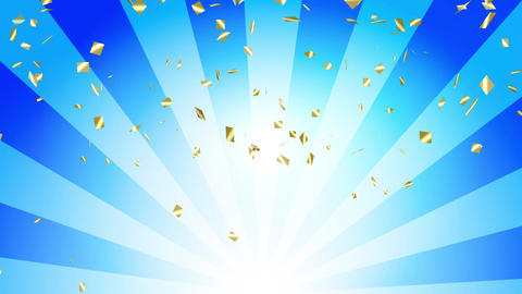 Confetti gold radial background blue Animation