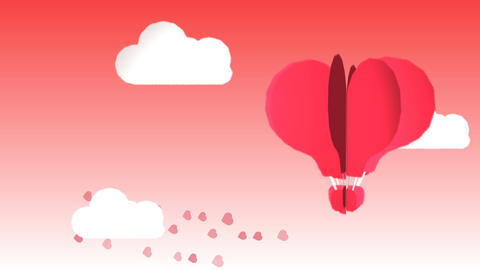 very sweet animation that represents with a heart-shaped balloon the feeling of Footage