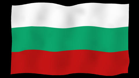 Flag of Bulgaria, 60 fps, slow motion, lopped, alpha channel Animation