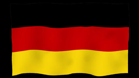 Flag of Germany, 60 fps, slow motion, lopped, alpha channel Animation