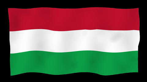 Flag of Hungary, 60 fps, slow motion, lopped, alpha channel Animation