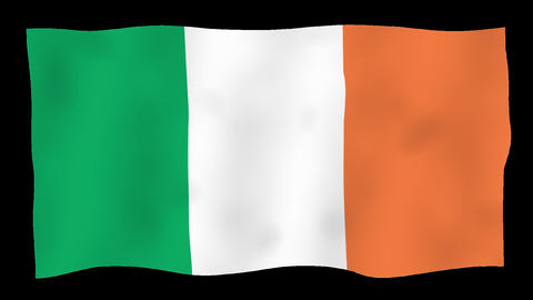 Flag of Ireland, 60 fps, slow motion, lopped, alpha channel Animation