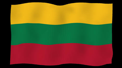 Flag of Lithuania, 60 fps, slow motion, lopped, alpha channel Animation