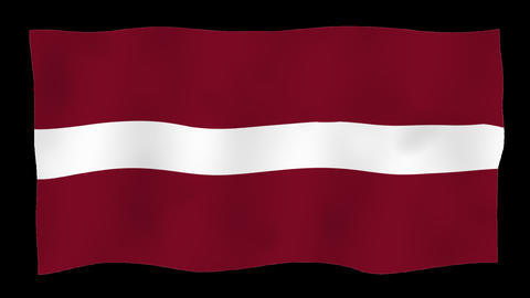 Flag of Latvia, 60 fps, slow motion, lopped, alpha channel Animation