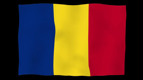 Flag of Romania, 60 fps, slow motion, lopped, alpha channel Animation