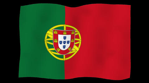 Flag of Portugal, 60 fps, slow motion, lopped, alpha channel Animation