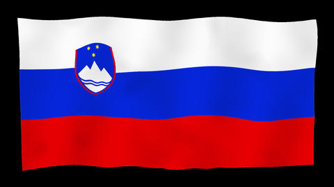 Flag of Slovenia, 60 fps, slow motion, lopped, alpha channel Animation