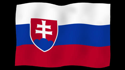 Flag of Slovakia, 60 fps, slow motion, lopped, alpha channel Animation