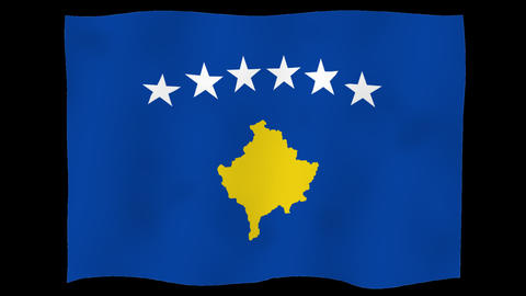 Flag of Kosovo, 60 fps, slow motion, lopped, alpha channel Animation