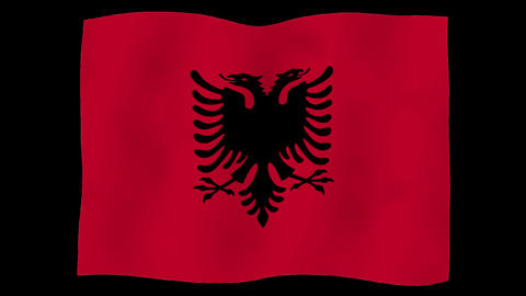 Flag of Albania, 60 fps, slow motion, lopped, alpha channel Animation