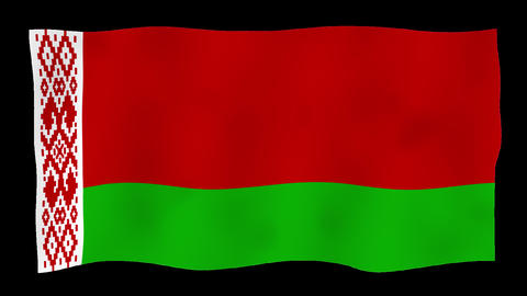 Flag of Belarus, 60 fps, slow motion, lopped, alpha channel Animation