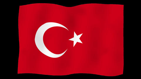 Flag of Turkey, 60 fps, slow motion, lopped, alpha channel Animation