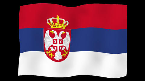 Flag of Serbia, 60 fps, slow motion, lopped, alpha channel Animation