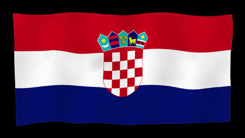 Flag of Croatia, 60 fps, slow motion, lopped, alpha channel Animation