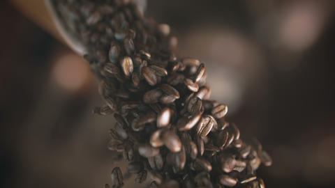 Falling coffee beans in super slow motion in 4K, Live Action