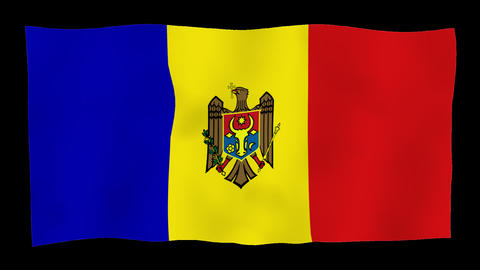 Flag of Moldova, 60 fps, slow motion, lopped, alpha channel Animation
