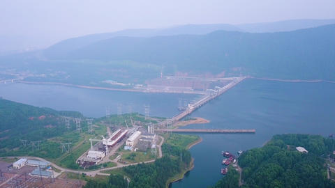 Krasnoyarsk hydroelectric power station on the Yenisei River. Russia, From Live Action