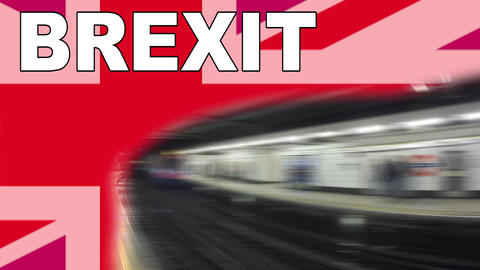 Brexit logo animated video concept with flag and title Footage