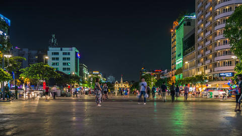 Time lapse of Nguyen Hue Walking Street at night Live Action