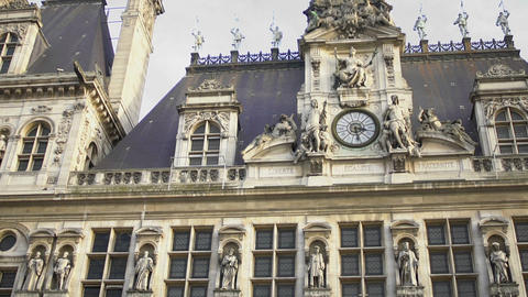 Hotel de Ville building, Town Hall, Paris architecture, historical sightseeing Footage